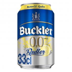 Cerveza Buckler 0,0 sin alcohol Radler con limón lata 33 cl.