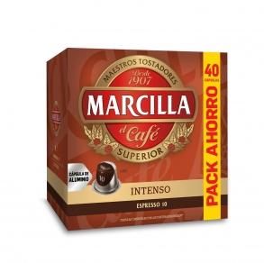 Café intenso en cápsulas Marcilla compatible con Nespresso 40 unidades de 5,2 g.