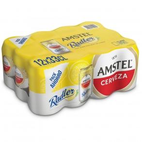 Cerveza Amstel Radler con limón pack de 12 latas de 33 cl.