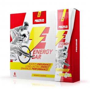 Barritas energéticas sabor banana y almendras Prozis pack de 6 barritas de 20 g.