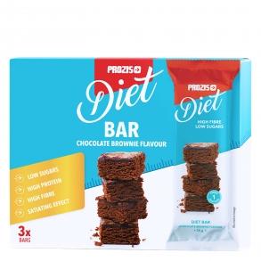Barrita saciante sabor brownie de chocolate Prozis pack de 3 barritas de 35 g.
