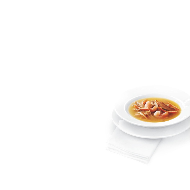 Comida para gatos en Sopa con Atún Natural servido con Gambas ...