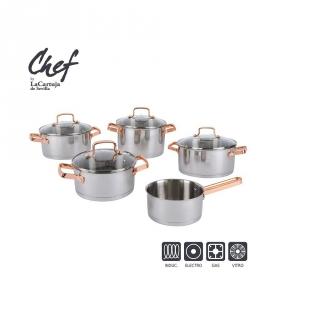 Bateria de cocina cl sica de acero inoxidable la cartuja - Sartenes chef la cartuja de sevilla ...
