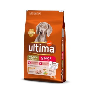 Pienso de pollo y arroz para perro adulto Medium Maxi Ultima 7,5 Kg.