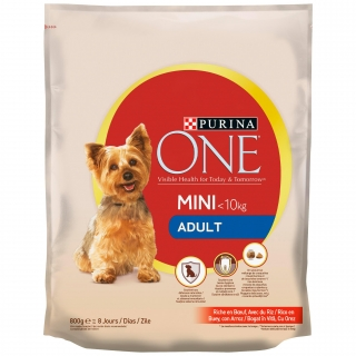 Pienso de buey y arroz para perro adulto Mini Purina One 800 g.