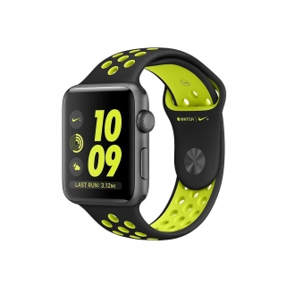 Apple Watch Nike + Caja de 38 mm de Aluminio Color Gris Espacial con Correa Deportiva Nike Color Negra/Voltio
