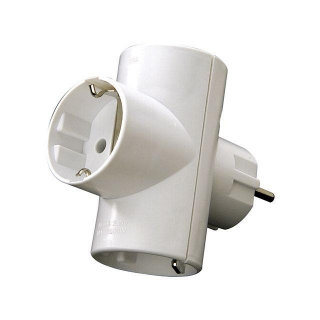 Adaptador Triple Schuko 16a. Blanco