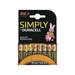 Pack de 8 Pilas Alcalinas Uso Basico Duracell Lr03 (Aaa) Simply