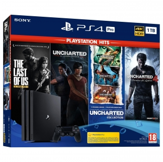 PS4 Pro 1TB Hits + The Last of Us™ remasterizado +Uncharted: The Nathan Drake Collection + Uncharted 4: El desenlace del ladrón + Uncharted: El Legado Perdido