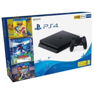 PS4 500GB + Captain Tsubasa + Sonic Mania Plus + LEGO Marvel Super Heroes 2