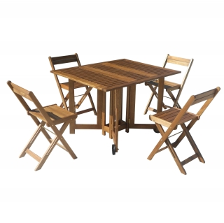 Conjunto de madera de acacia mesa 4 sillas plegables for Oferta sillas plegables
