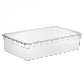 Caja con tapa de pl stico basic carrefour home 30 litros for Cajas de plastico transparente