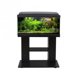 Set acuario milo luxline con mueble 80x30 negro las for Acuario 90 litros