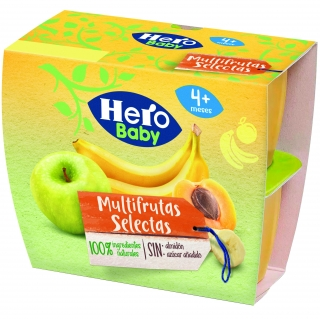 Pack Cuatro Tarrinas Hero Baby Multifrutas