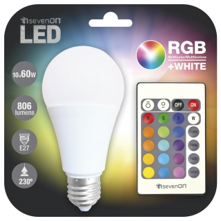 Led Estandar 9W E27 con Mando RGB