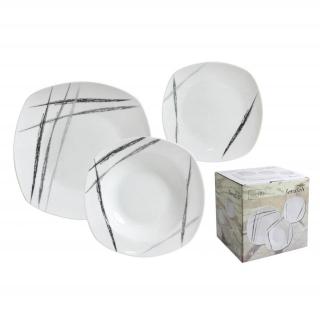 juego de vajilla cuadrado de porcelana home style scratch pz decorado
