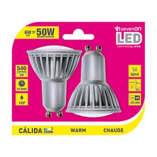 Pack de 2 Bombillas Led Spotlight 6W GU10 Cálida
