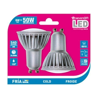 Pack de 2 Bombillas Led Spotlight 6W GU10 Fría