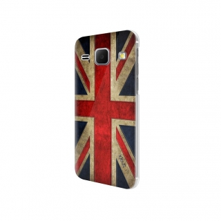 "Carcasa Ideus con relieve 3D ""Bandera UK"" para Galaxy J1"