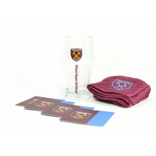 West Ham United Fc Official - Kit Para Mini Bar (1 Vaso De Ceveza, 4 Posavasos Y 1 Paño) (modelo Único) (clarete/azul)