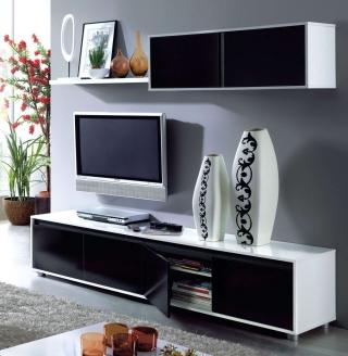 Mueble de comedor moderno color blanco negro con for Comedor moderno blanco
