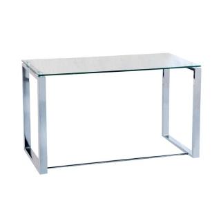 Mesa de escritorio benetto xl color metal cromado con for Mesa cristal carrefour