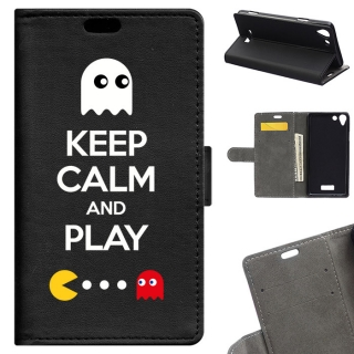 Funda Carcasa Tipo Libro Para Wiko Selfy 4g Keep Calm And Play - Becool®
