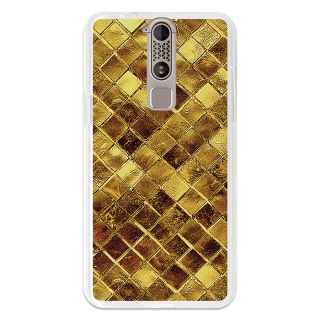 Funda Gel Flexible Tpu Para Zte Axon Mini Cuadrados De Oro Brillantes - Becool®