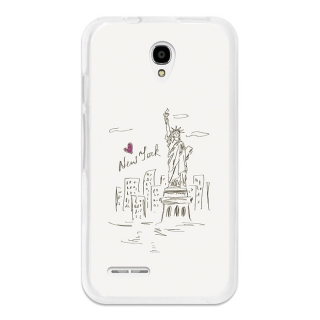 Funda Gel Flexible Tpu Para Alcatel Onetouch Pixi 4 3.5 Dibujo Estatua De La Libertad - Becool®