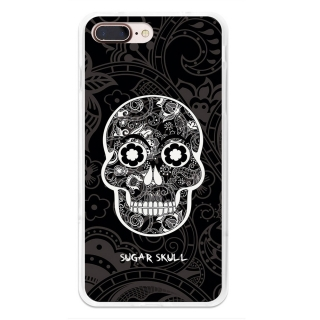 Funda Gel Flexible Tpu Para Iphone 7 Plus Calavera De Azúcar Negra - Becool®