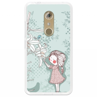 Funda Gel Flexible Tpu Para Zte Axon 7 Niña Y Flor - Becool®