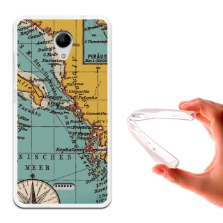 Becool ® - Funda Gel Mapa Antiguo Para Wiko Freddy