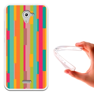 Becool ® - Funda Gel Lineas Pastel Para Wiko U Feel Fab