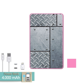 Batería Externa Power Bank 4000 Mah Rosa Acero Con Remaches + Gratis Cable Usb-microusb Y Adaptador Lightning - Becool®