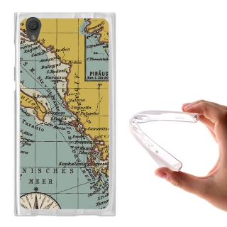 Becool® - Fundas Gel Mapa Antiguo Para Sony Xperia L1