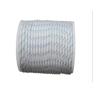 Cordon Nylon Trenzado 8mm Blanco Azul 100 Mts.