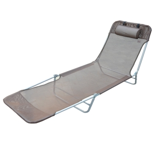 Tumbona Reclinable De Acero Color Café Plegable Con Almohada Playa Piscina