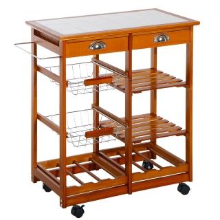 Carrito cocina servicio auxiliar madera metal cromado for Carrefour utensilios cocina