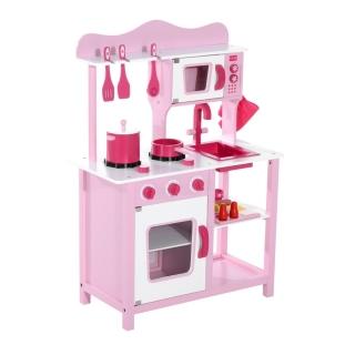 Homcom cocina de juguete madera rosa 60x30x84 5cm con for Cocina ninos juguete