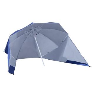 outsunny sombrilla para playa y jardn con paneles laterales color azul polister hierro - Sombrillas De Playa Grandes