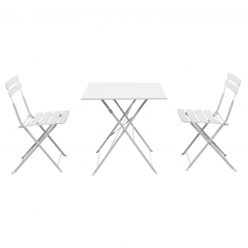 Set de Balcón Plegable con Mesa + 2 Sillas - Blanco