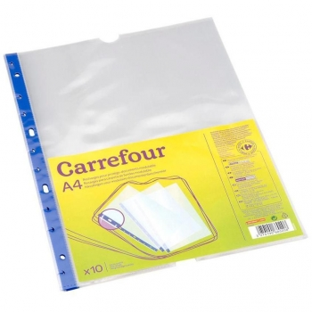 Pack 10 Fundas Removibles A4 Carrefour