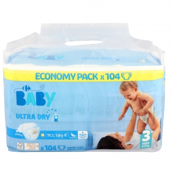 Pañales Carrefour Baby Ultra Dry Talla 3 (4-9 kg) 104 ud.