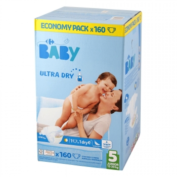 Pañales Carrefour Baby Ultra Dry Talla 5 (11-25 kg) 160 ud.