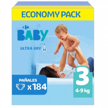Pañales Carrefour Baby Ultra Dry Talla 3 (4-9 kg) 184 ud.