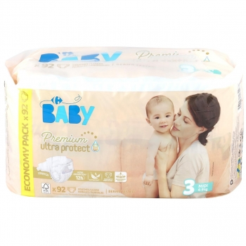 cb2ba582f0d3 Pañales Premium Carrefour Baby Ultra Protect Talla 3 (4-9 kg) 92 uds