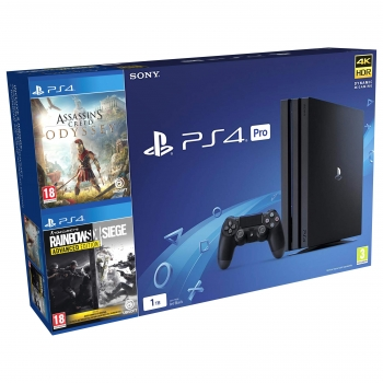 PS4 Pro 1TB con Assassin's Creed Odyssey + RainbowSix Siege Advanced Edition