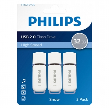 Pack 3 Memorias Usb Philips 2.0 32GB - Blanco