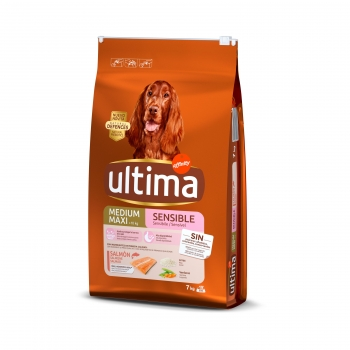 Pienso de salmón para perro Medium Ultima Maxi Sensitive 7 Kg.