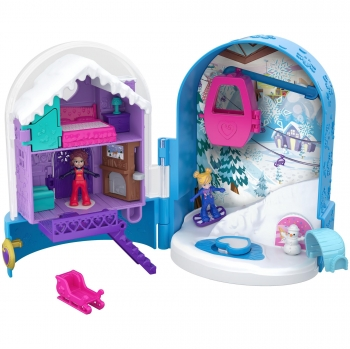 Polly Pocket - Muñeca con Mini Cofre, Refugio de Nieve